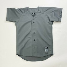 Mizuno Full Button Short Sleeve Baseball Jersey Youth Boy's Large Gray 3... - $22.76