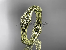 14k yellow gold rope celtic trinity knot wedding band RPCT9356G - $595.00