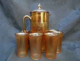 Rare 8 Piece Jeanette Marigold Carnival Glass Cider Pitcher Tumbler Set ... - $149.99