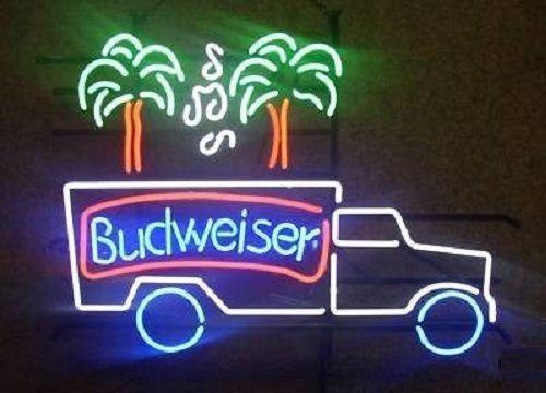 """New Budweiser Truck Music Palm Tree Beer Neon Light Sign 24""""x20"""""""