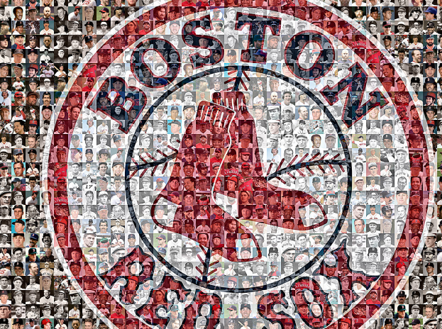Primary image for Boston Red Sox Mosaic Print Art using 200 Pictures of Past and Present Players.