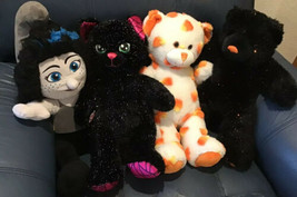 Build A Bear Lot Of 4 Halloween Plush Black Cat Vexy Witch Bear Cub Cand... - $12.00