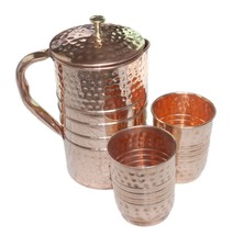 Copper Water Pitcher Set 2 Glasses Capacity 10 Oz with 1 Jugs Capacity 5... - $44.54