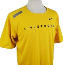 Nike Livestrong Fit Dry Mens Large S/S T-Shirt Lance Armstrong Yellow Cy... - $18.79
