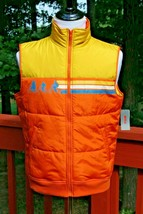Stranger Things Zip Up Puffer Vest Retro Orange Yellow Color Block Men's... - $39.99