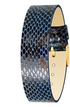 Moog Paris Blue Calf Leather Bracelet for Women, Python Pattern, Pin Cla... - $46.65