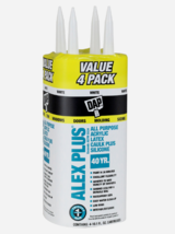 New!! DAP ALEX PLUS White Acrylic Latex All Purpose CAULK 10.1 oz. 4 PAC... - $20.99