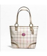 Coach Canvas Leather Heritage Peyton Tattersall Tote Shoulder Bag - $346.50