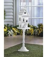TWO STORY PEDESTAL BIRDHOUSE Freestanding White Wood Indoor Outdoor - $34.89