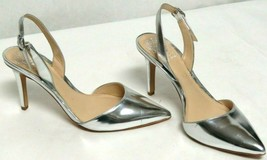 Vince Camuto Mirror Silver Slingback Pumps 6 M Pointed Toe Buckle Strap 3.5 Heel - $53.35