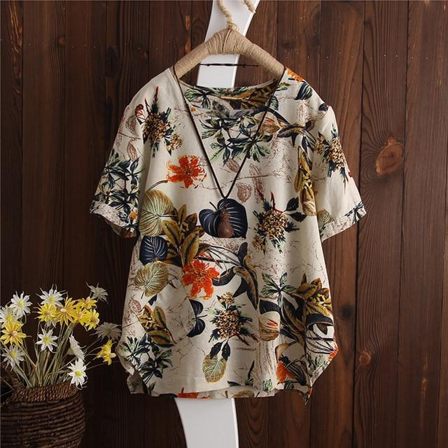 Plus Size 2018 ZANZEA Women Vintage Floral Printed O Neck Short Sleeve Blouse Su
