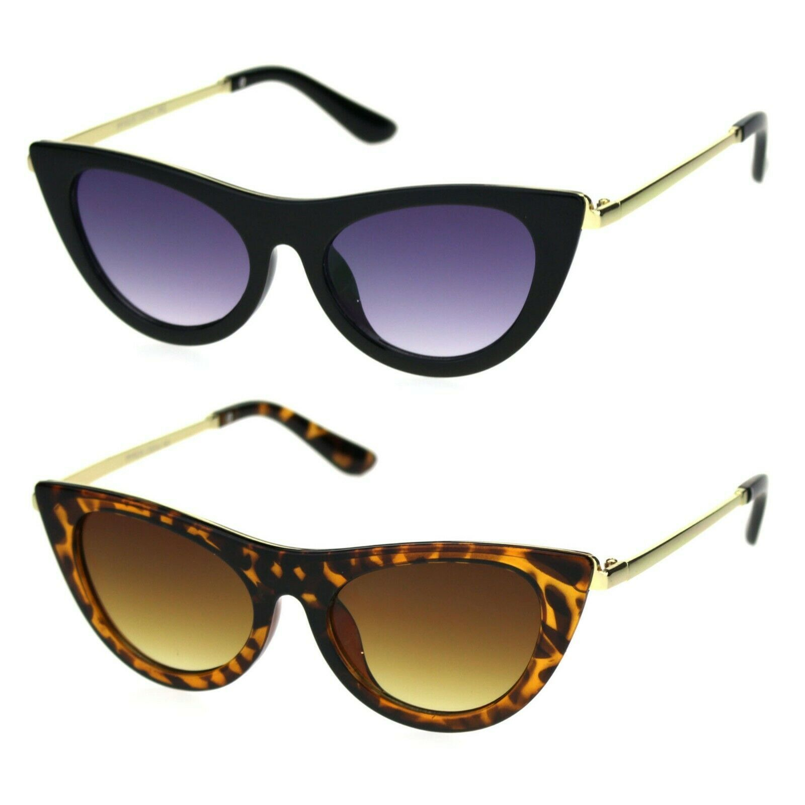Womens Mod Metal Arm Chic Gothic Plastic Cat Eye Sunglasses