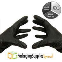 100 Disposable Gloves Powder-Free Black Nitrile 3.5 Mil Industrial Glove... - $12.42