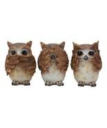 See Hear Speak No Evil Wise Owls Figurine Decor Set Wisdom Of The Woods ... - $26.99