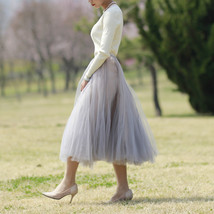 Gray Layered Tulle Skirt Outfit High Waisted Midi Tulle Skirt Party Tulle Skirt image 4