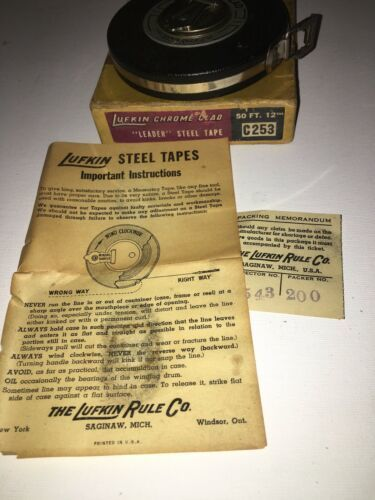 Primary image for Vintage Lufkin Rule Co Chrome Clad 50ft Steel Tape Measure Hand Crank USA