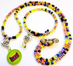 Retro 70s Design Beaded Necklace & Bracelet Handmade Fashion Jewelry Acc... - $19.99