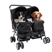 Bosonshop Folding Pet Stroller with 360 Rotating Front Wheel, Black - $122.99