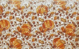 "Printed Fabric Tablecloth 70"" Round, PUMPKINS & ACORNS by Harvest Market - $24.74"