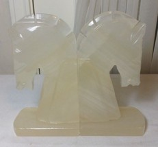 "Vintage Hand Carved Pair of Onyx Stone Rock Horse Head Book Ends 7 3/4"" ... - $29.99"