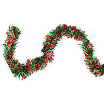 50' Festive Shiny Red Green Christmas Tinsel Garland - 6 Ply - tkcc Free... - $34.95