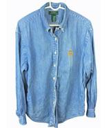 Vintage POLO Ralph Lauren Denim Long Sleeve Shirt embroidered Crest  RLL... - $43.65