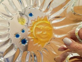 CLEAR GLASS COLORED SUN & MOON PLATE PLATTER BEAUTIFUL - $29.69