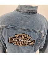 Harley Davidson Denim Blue Jean Button Up Vest Size Large Biker Mechanic... - $84.14