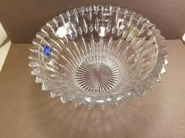 "Clear Crystal 10"" Hostess Centerpiece Bowl Cut Crystal Studio Nova FACETS Japan - $15.85"