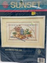 Vtg Sunset Counted Cross Stitch Kit 13550 Southwest Still Life 1992 Nip - $14.84