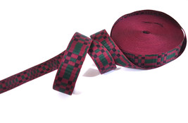 "5/8"" 16mm wide Checks Burgurdy Red/ Green/ Black Woven Jacquard Ribbon T... - $6.99+"