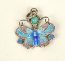 Sterling Silver Enamel Blue Purple Butterfly Charm Pendant Turquoise Stone - €41,73 EUR