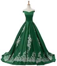 Women Green Evening Dresses Long Prom Dress Ball Gown Off-the-Shoulder A... - $158.00