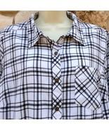 Sonoma Shirt Top Womens Plus Sz 1X Black White Plaid Flannel Long Sleeve... - $29.99