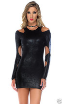 Forplay Midnight Hour Long Sleeve Cold Shoulder Metallic Black Mini Dress - €30,51 EUR
