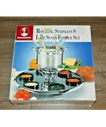 Roshco 16-Piece Stainless Steel Lazy Susan Fondue Set Brand New In Box - $37.99