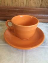 Fiesta ware Tangerine Tea Cup & Saucer Espresso Cup Homer Laughlin  - $20.56