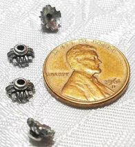4pcs. Fine Pewter Bead Caps - 3x6x6mm; Hole 1mm image 3