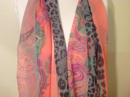 Paisley, Lines, Leopard Print Summer Sheer Fabric Multicolor Scarf, 6 colors image 3