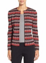 L MING WANG Red Gray Black Jacquard Stripe Jacket NWT $275 - $128.69