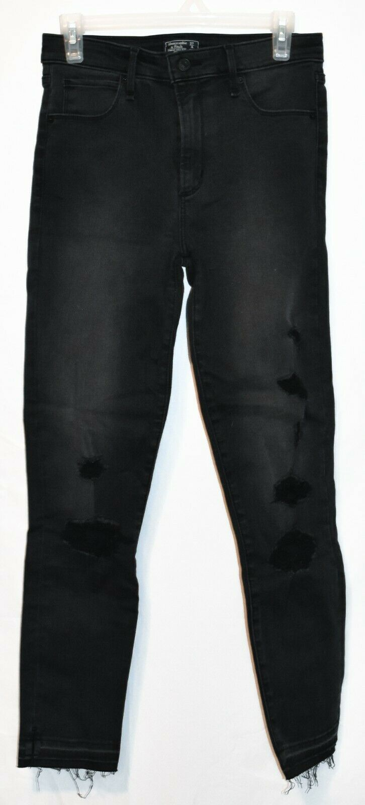 Abercrombie & Fitch Women's Black Distressed Simone High Rise Ankle Jeans 27 4L