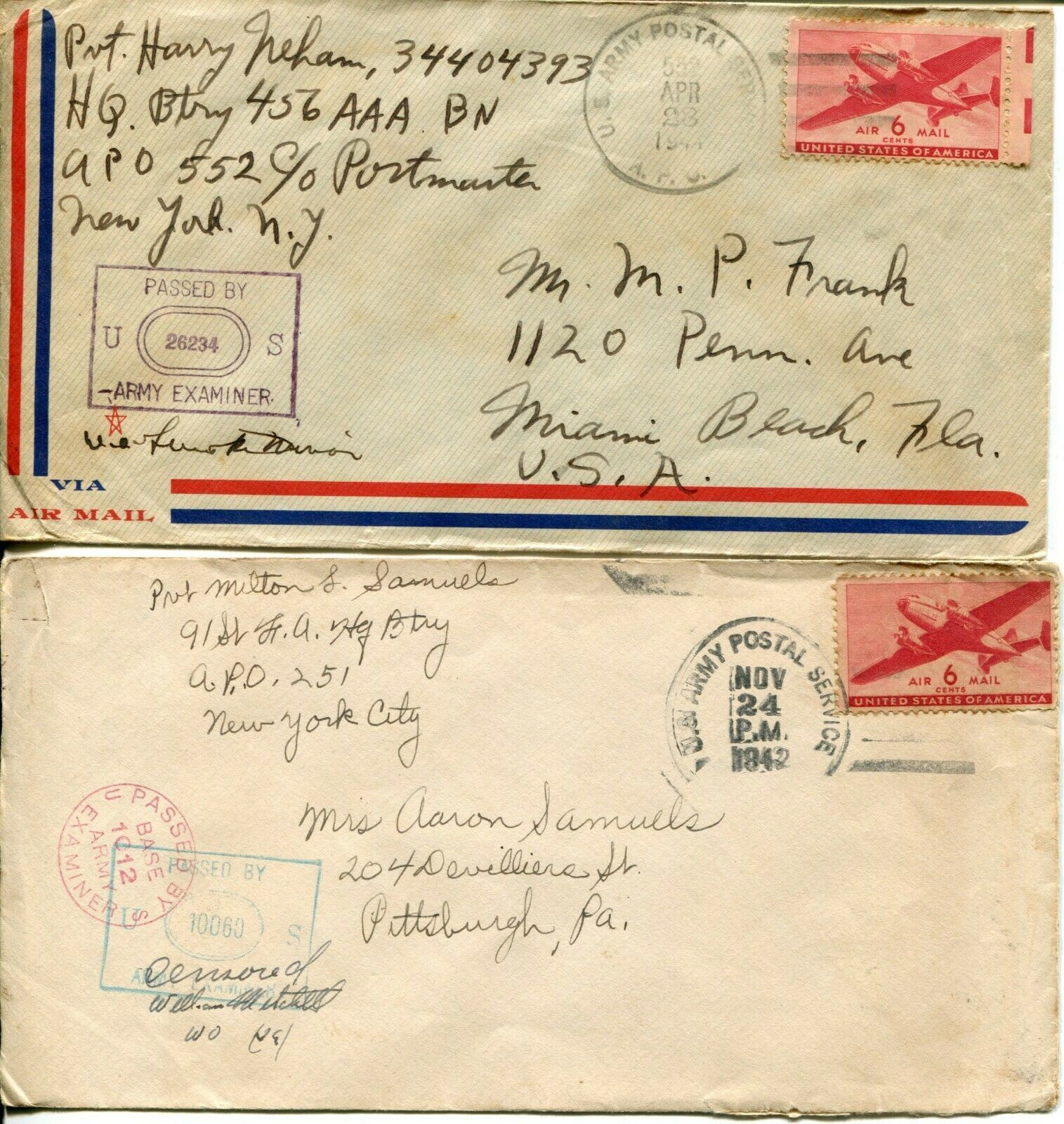 US Army Airmail WWII APO Navy Military Cover Examined Postage Collection  image 11
