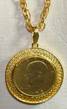 VTG Gold Plated Eisenhower 1972 One Dollar Coin Pendant Necklace - $74.25