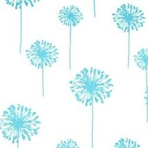 TABLE RUNNER DANDELIONS aqua lt turquoise flower dandelions on white and... - $13.50