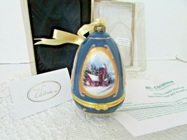 "Mr.Christmas Musical Glass Ornament Trinket Box Valerie Blue Church 4.25""H Mib - $18.76"