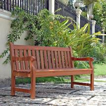 5-Ft Outdoor Wooden Garden Bench with Armrests - $319.58
