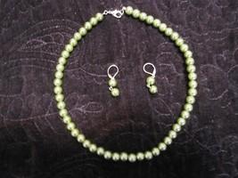 Iridescent Green Beaded Costume Jewelry Set - $45.00