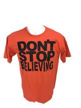 Vintage 1980s Men's Don't Stop Believing Orange Cropped Spellout T-Shirt... - $28.01