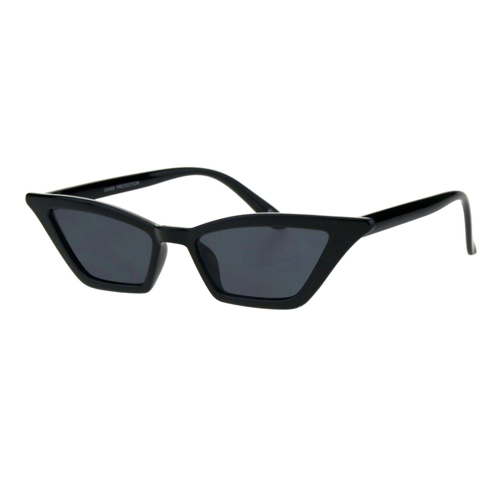 Womens Skinny Sunglasses Trapezoid Shape Glamorous Cateye Frame