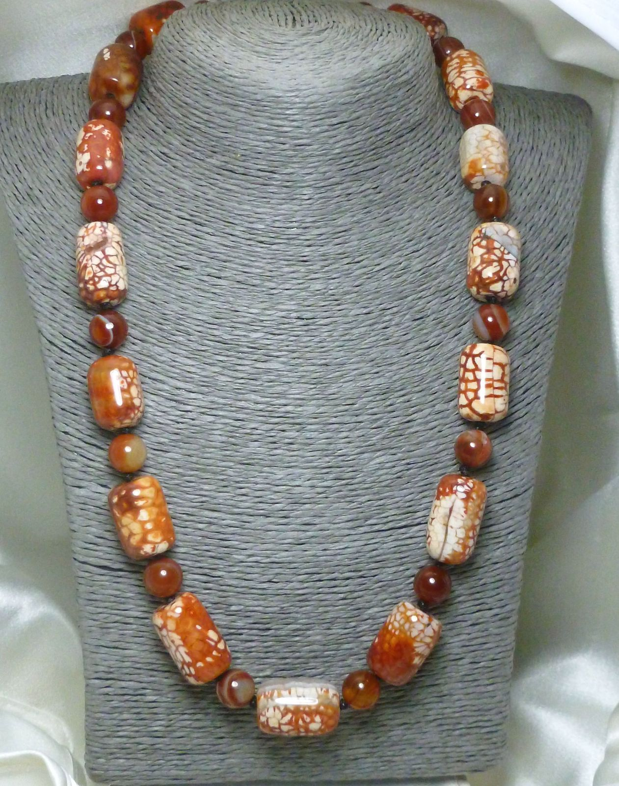 Burnt Orange Crackle Fire Agate Beaded Necklace 22 inch